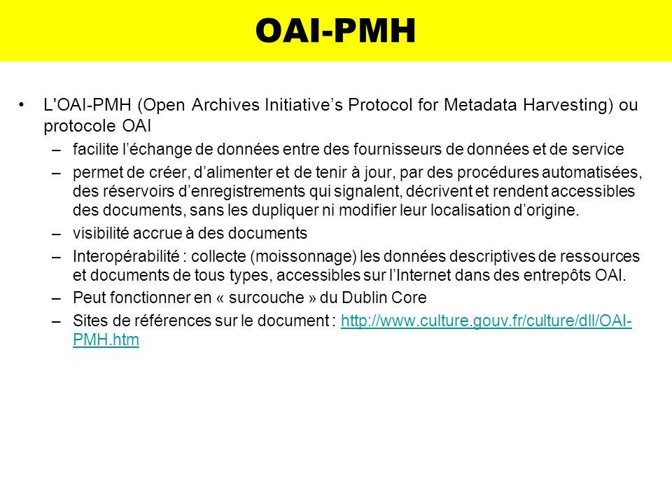 OAI-PMHL OAI-PMH (Open Archives Initiative's Protocol for Metadata Harvesting) ou protocole OAI.