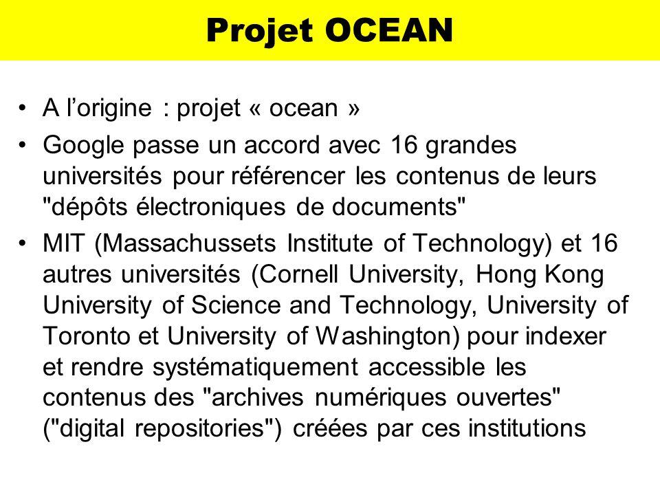 Projet OCEAN A l'origine : projet « ocean »