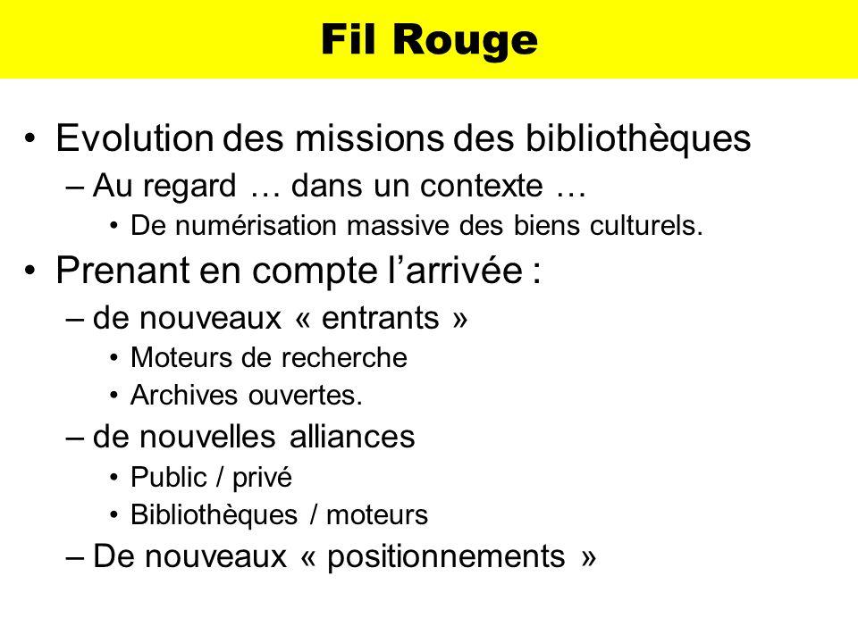 Fil Rouge Evolution des missions des bibliothèques