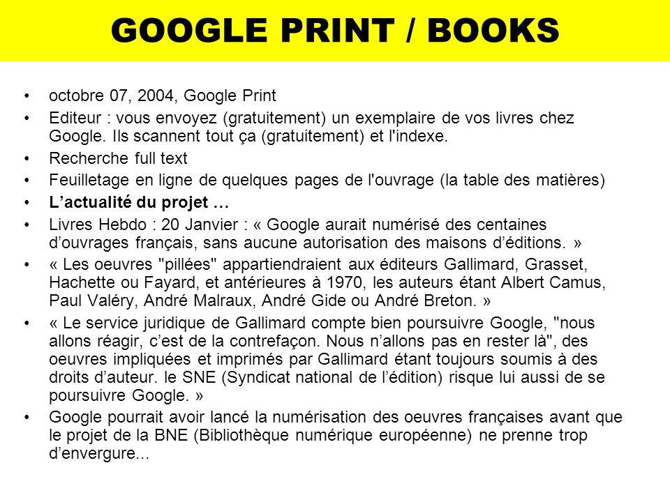 GOOGLE PRINT / BOOKS octobre 07, 2004, Google Print