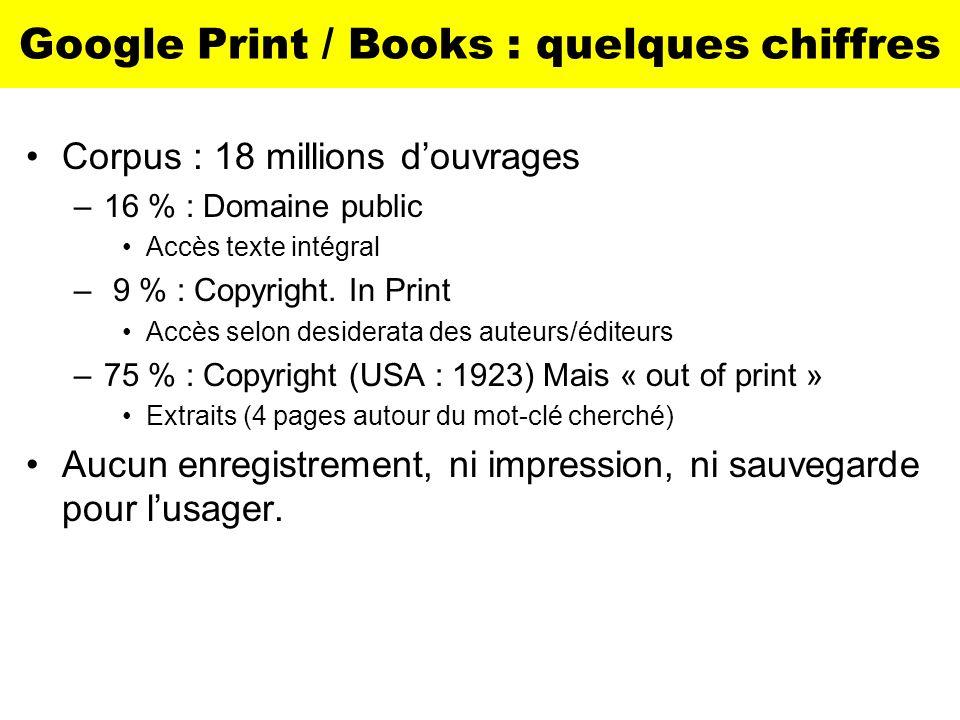 Google Print / Books : quelques chiffres