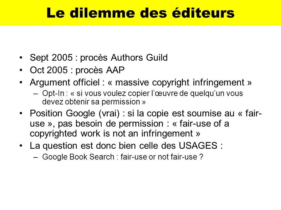 Le dilemme des éditeurs