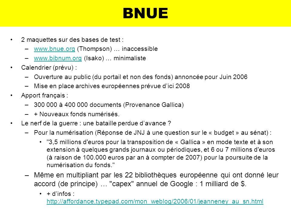 BNUE2 maquettes sur des bases de test : www.bnue.org (Thompson) … inaccessible. www.bibnum.org (Isako) … minimaliste.