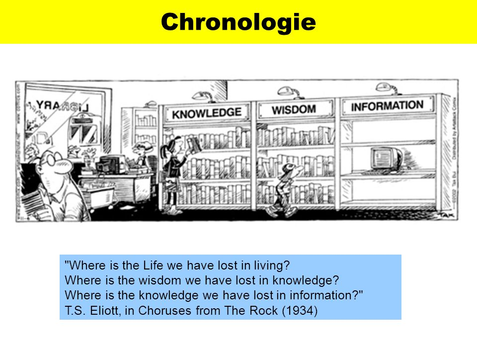 Chronologie Where is the Life we have lost in living