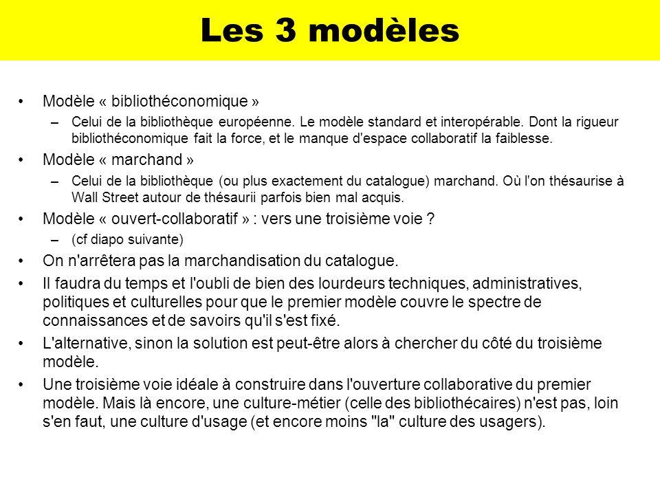 Les 3 modèles Modèle « bibliothéconomique » Modèle « marchand »