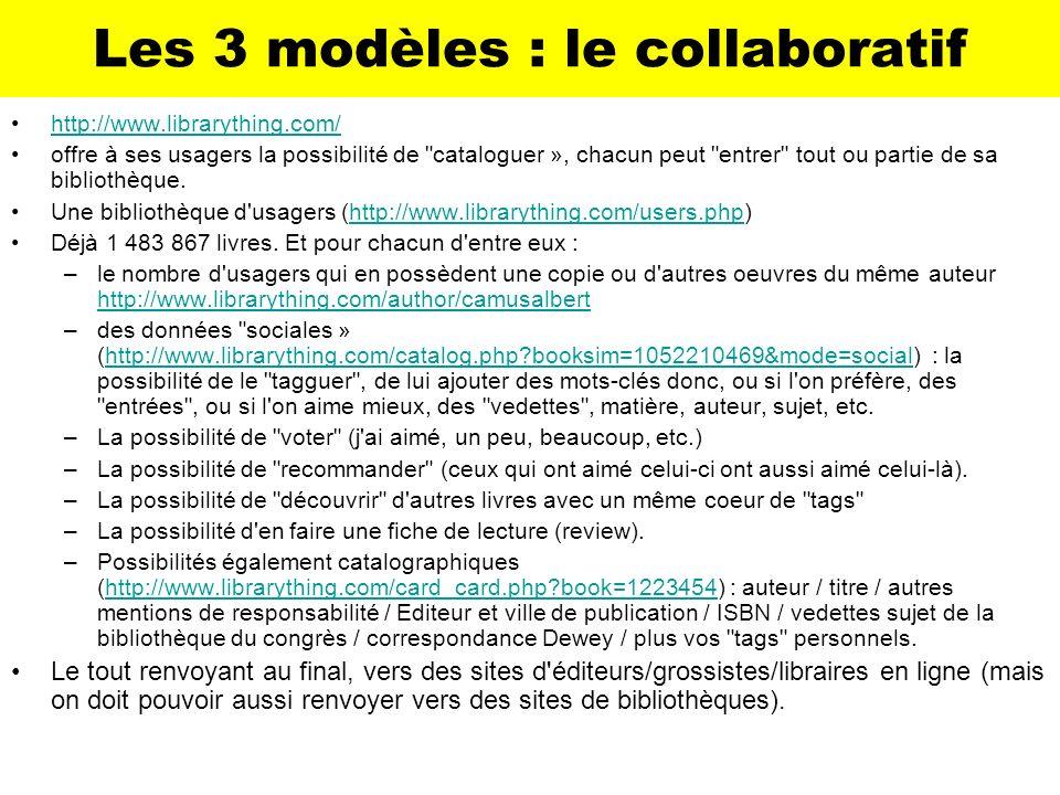 Les 3 modèles : le collaboratif