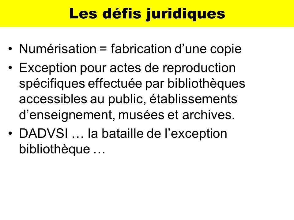 Les défis juridiques Numérisation = fabrication d'une copie