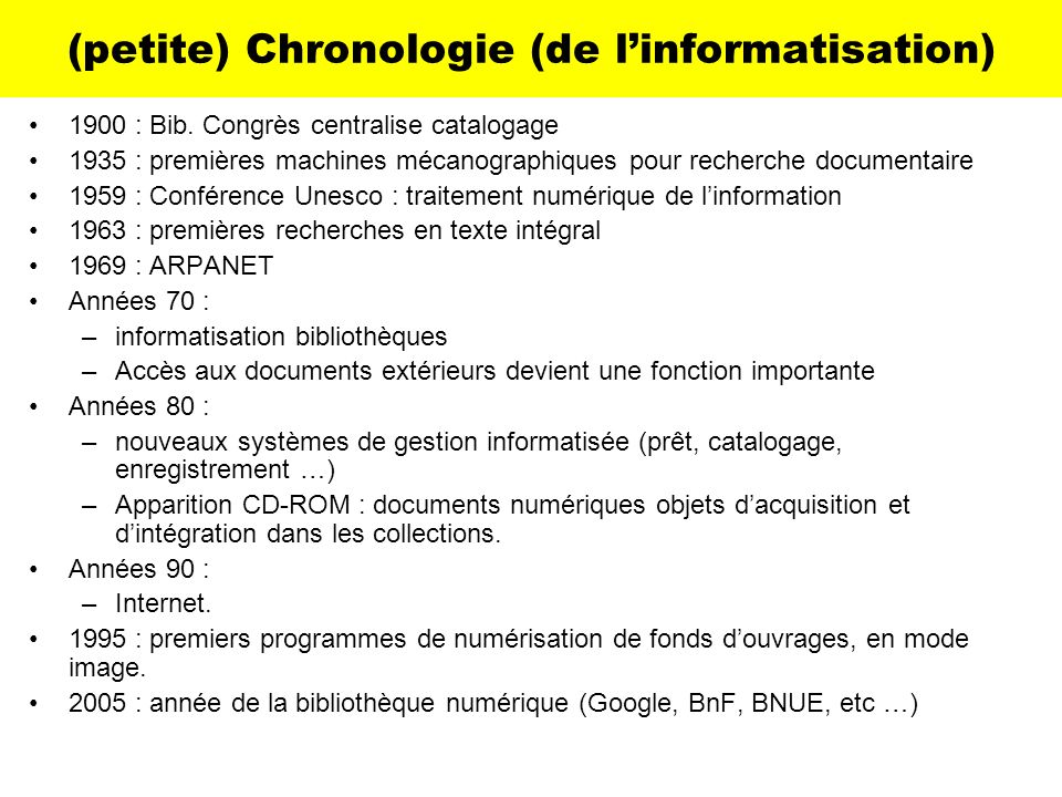 (petite) Chronologie (de l'informatisation)