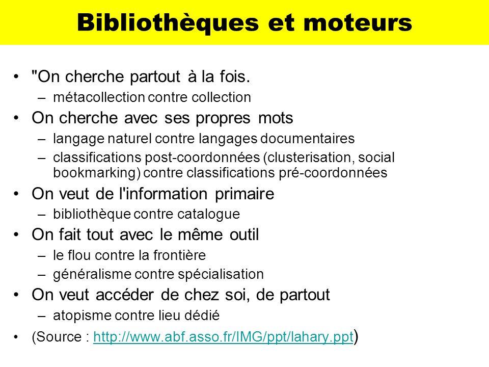 Bibliothèques et moteurs