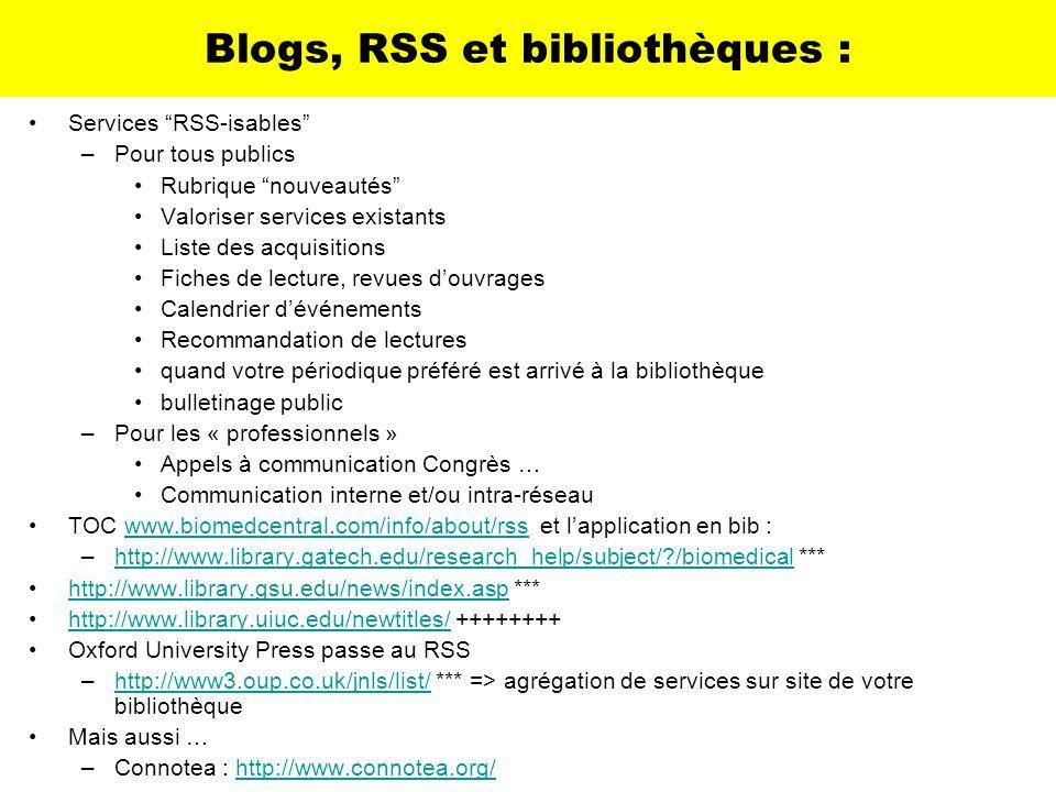 Blogs, RSS et bibliothèques :
