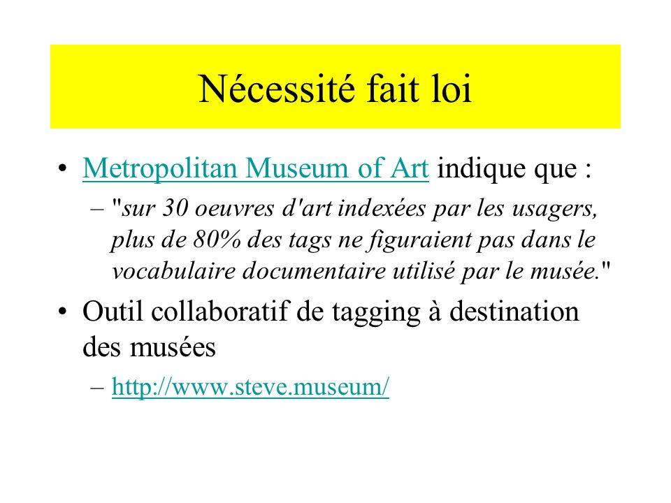 Nécessité fait loi Metropolitan Museum of Art indique que :
