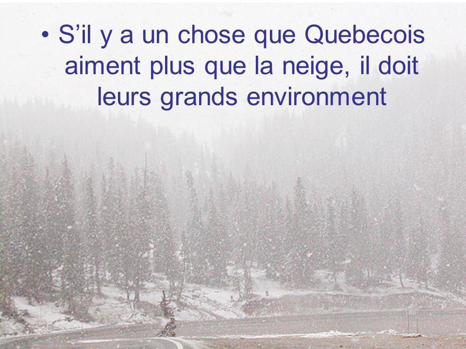 S'il y a un chose que Quebecois aiment plus que la neige, il doit leurs grands environment