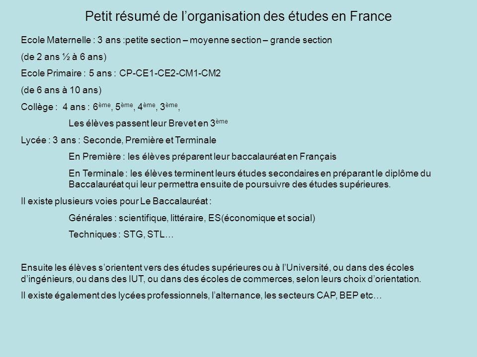 Petit résumé de l'organisation des études en France