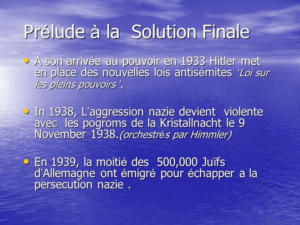Prélude à la Solution Finale