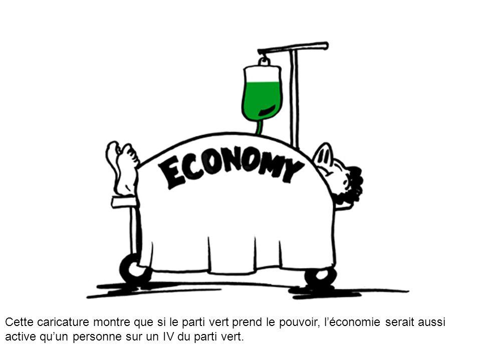 Cette caricature montre que si le parti vert prend le pouvoir, l'économie serait aussi active qu'un personne sur un IV du parti vert.