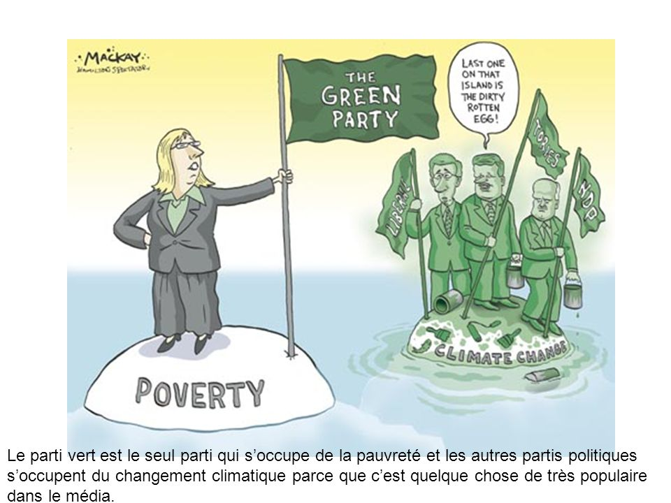 Le parti vert est le seul parti qui s'occupe de la pauvreté et les autres partis politiques s'occupent du changement climatique parce que c'est quelque chose de très populaire dans le média.