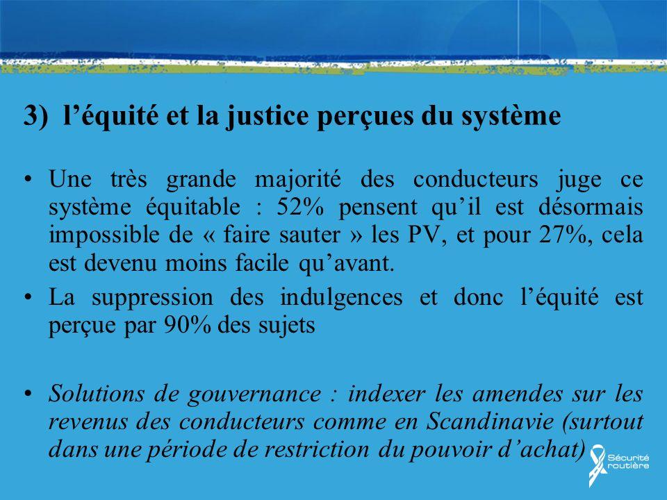 3) l'équité et la justice perçues du système