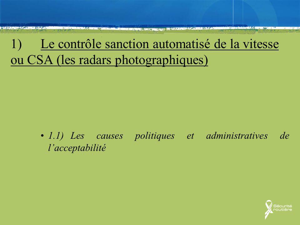 1) Le contrôle sanction automatisé de la vitesse ou CSA (les radars photographiques)