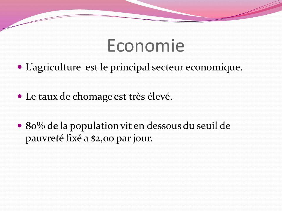 Economie L'agriculture est le principal secteur economique.