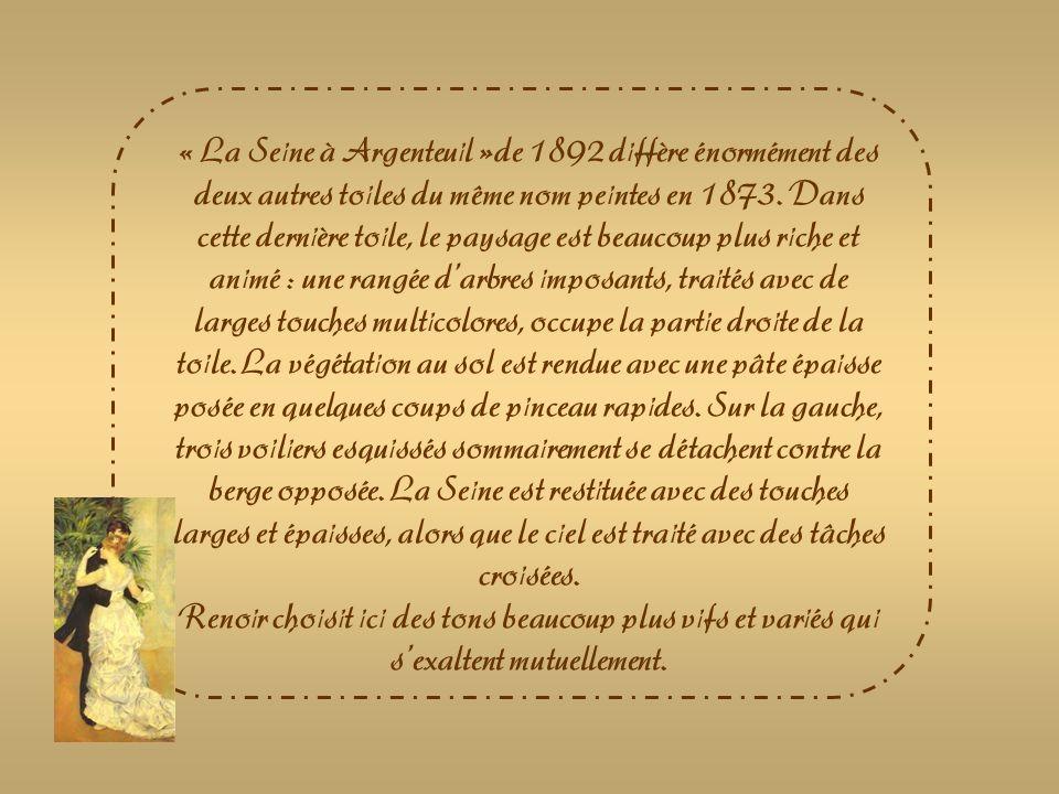 « La Seine à Argenteuil »de 1892 diffère énormément des deux autres toiles du même nom peintes en 1873. Dans cette dernière toile, le paysage est beaucoup plus riche et animé : une rangée d'arbres imposants, traités avec de larges touches multicolores, occupe la partie droite de la toile. La végétation au sol est rendue avec une pâte épaisse posée en quelques coups de pinceau rapides. Sur la gauche, trois voiliers esquissés sommairement se détachent contre la berge opposée. La Seine est restituée avec des touches larges et épaisses, alors que le ciel est traité avec des tâches croisées.
