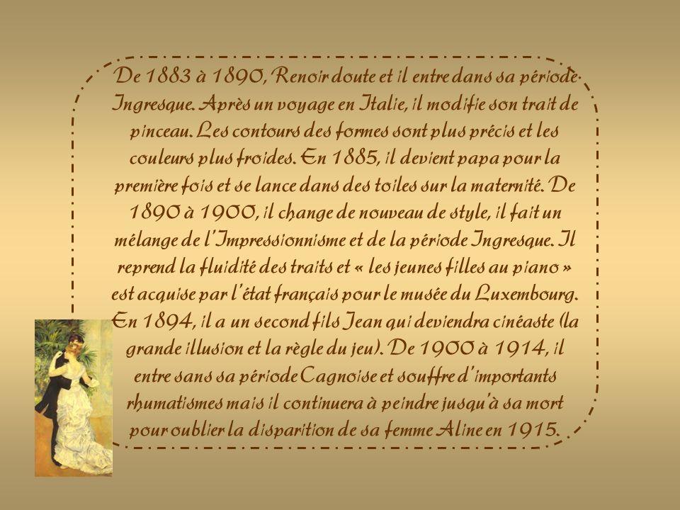 De 1883 à 1890, Renoir doute et il entre dans sa période Ingresque