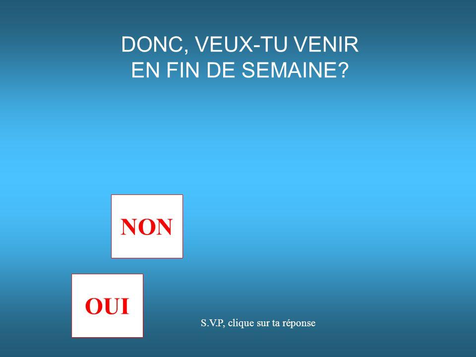 DONC, VEUX-TU VENIR EN FIN DE SEMAINE