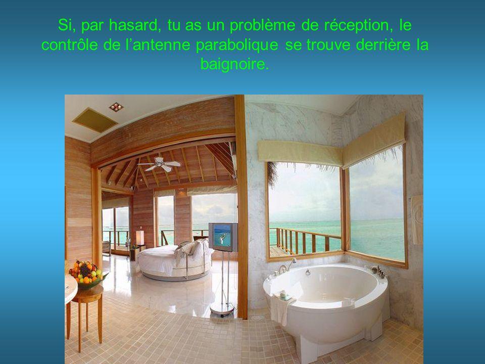 Si, par hasard, tu as un problème de réception, le contrôle de l'antenne parabolique se trouve derrière la baignoire.