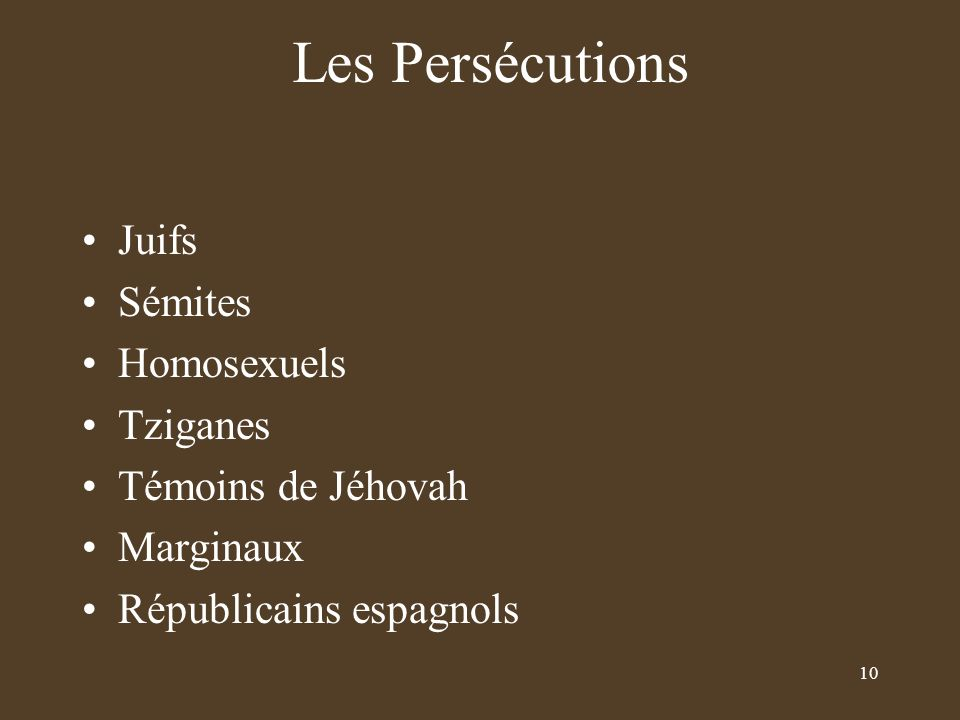 Les Persécutions Juifs Sémites Homosexuels Tziganes Témoins de Jéhovah
