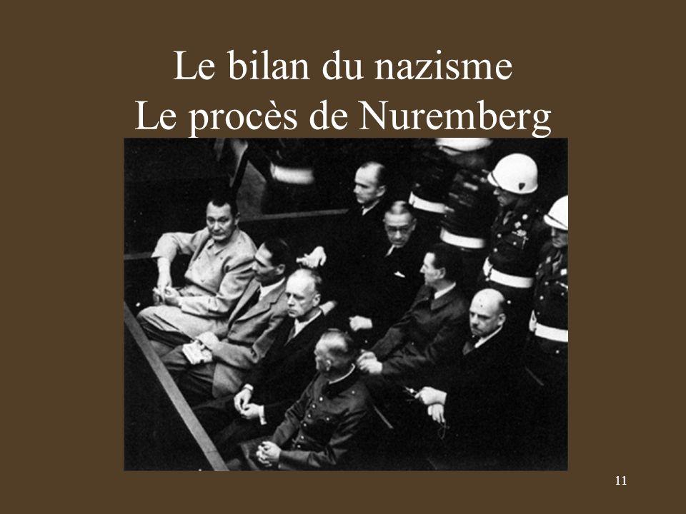 Le bilan du nazisme Le procès de Nuremberg