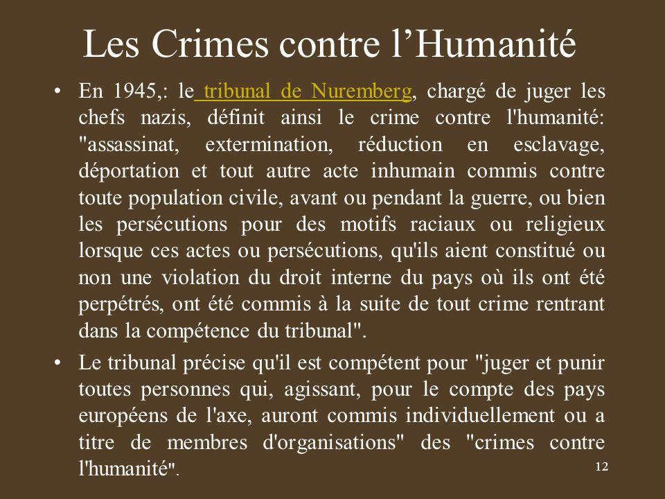 Les Crimes contre l'Humanité