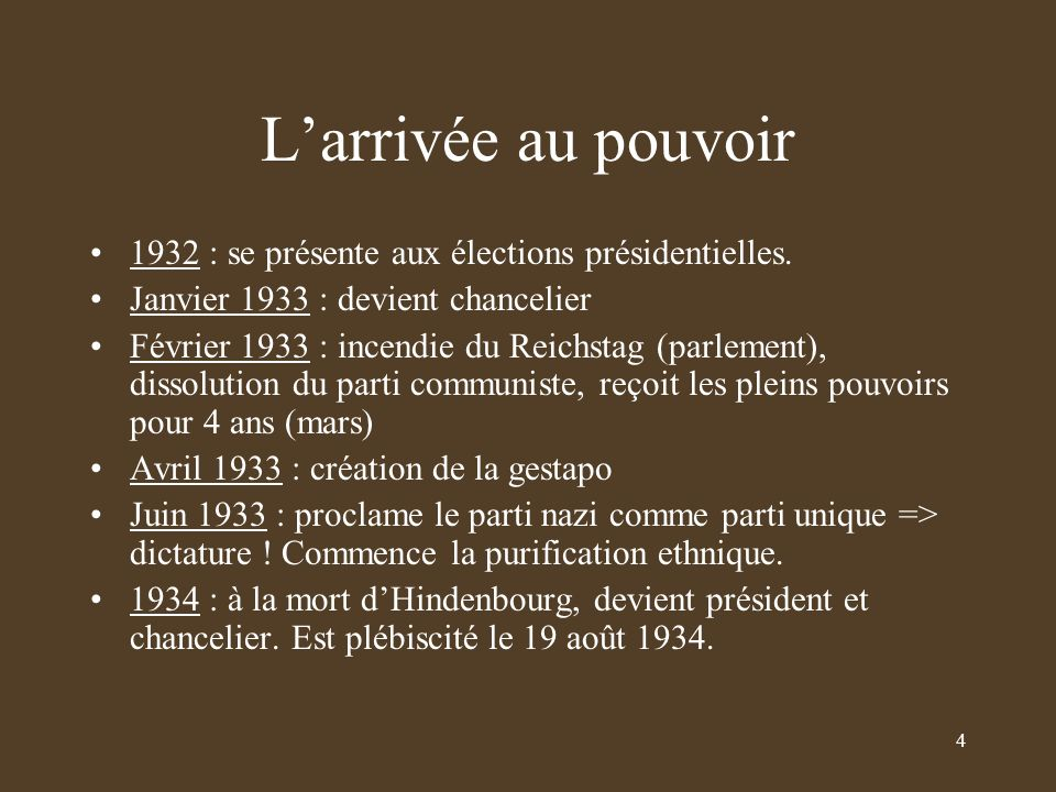 L'arrivée au pouvoir 1932 : se présente aux élections présidentielles.