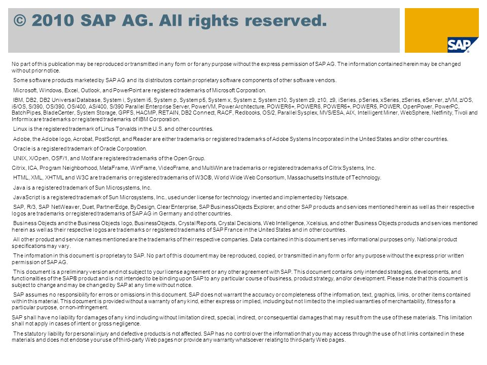 © 2010 SAP AG. All rights reserved.