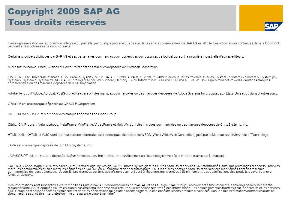 Copyright 2009 SAP AG Tous droits réservés