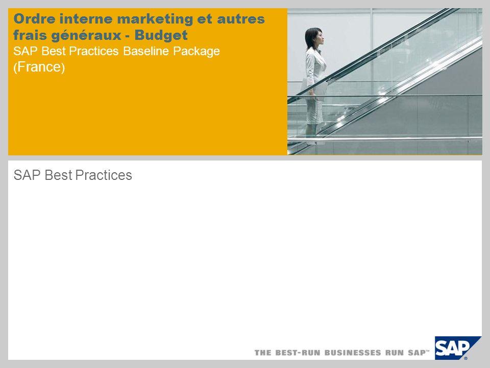 Ordre interne marketing et autres frais généraux - Budget SAP Best Practices Baseline Package (France)