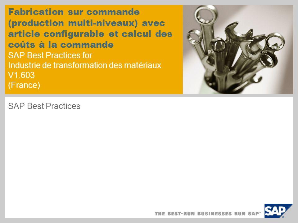 Fabrication sur commande (production multi-niveaux) avec article configurable et calcul des coûts à la commande SAP Best Practices for Industrie de transformation des matériaux V1.603 (France)