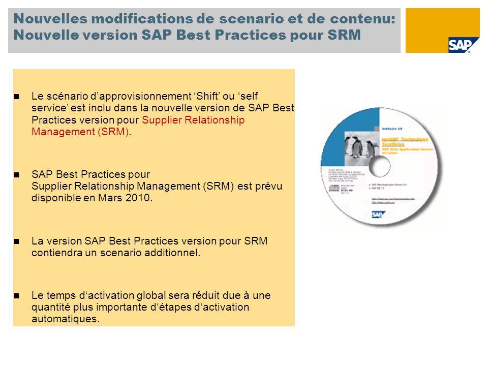 Nouvelles modifications de scenario et de contenu: Nouvelle version SAP Best Practices pour SRM