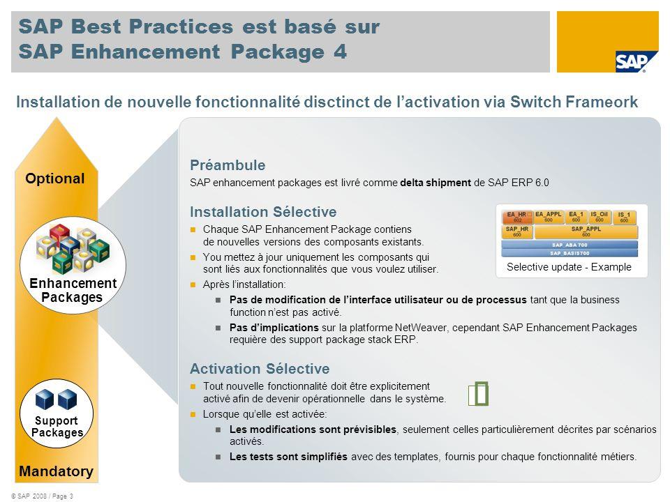 SAP Best Practices est basé sur SAP Enhancement Package 4