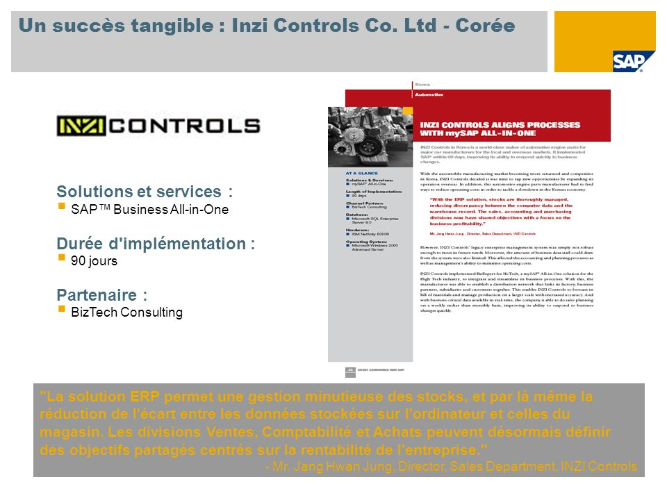Un succès tangible : Inzi Controls Co. Ltd - Corée