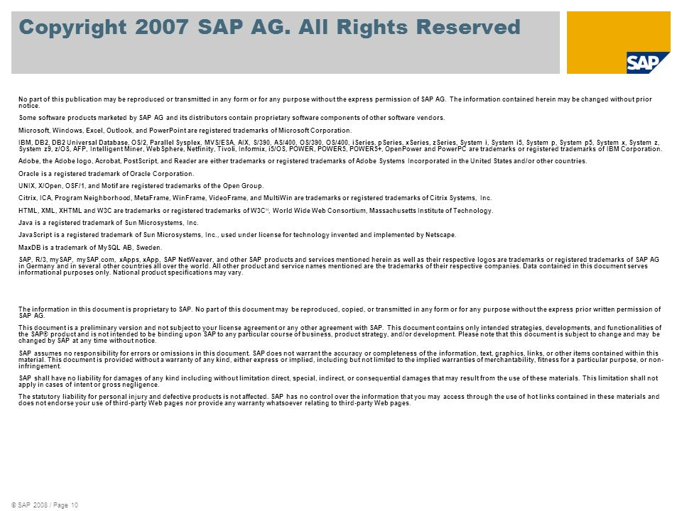 Copyright 2007 SAP AG. All Rights Reserved