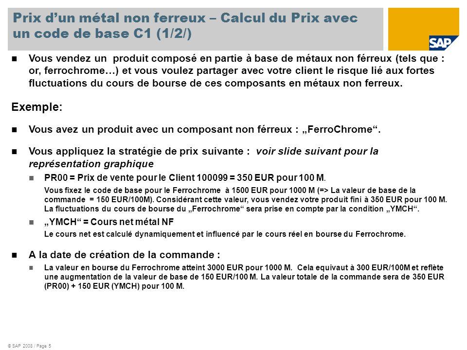 Prix d'un métal non ferreux – Calcul du Prix avec un code de base C1 (1/2/)