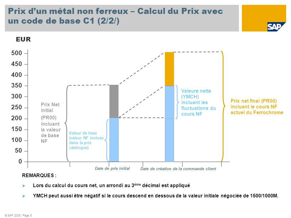 Prix d'un métal non ferreux – Calcul du Prix avec un code de base C1 (2/2/)