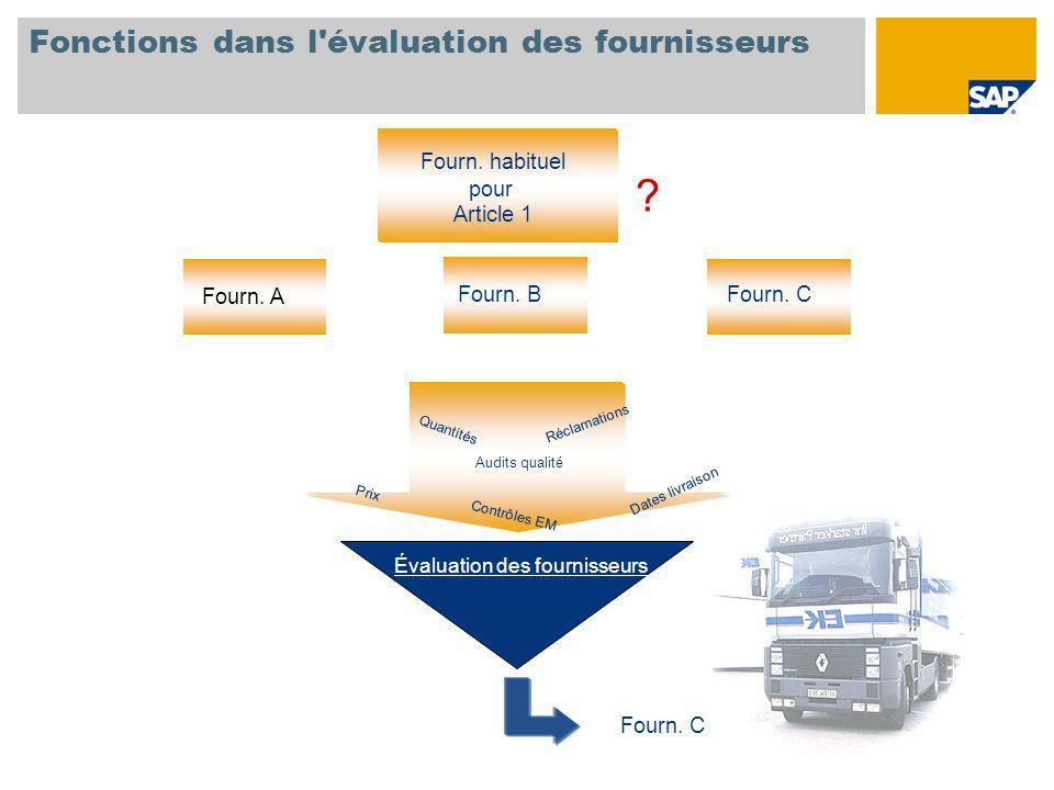 Fonctions dans l évaluation des fournisseurs