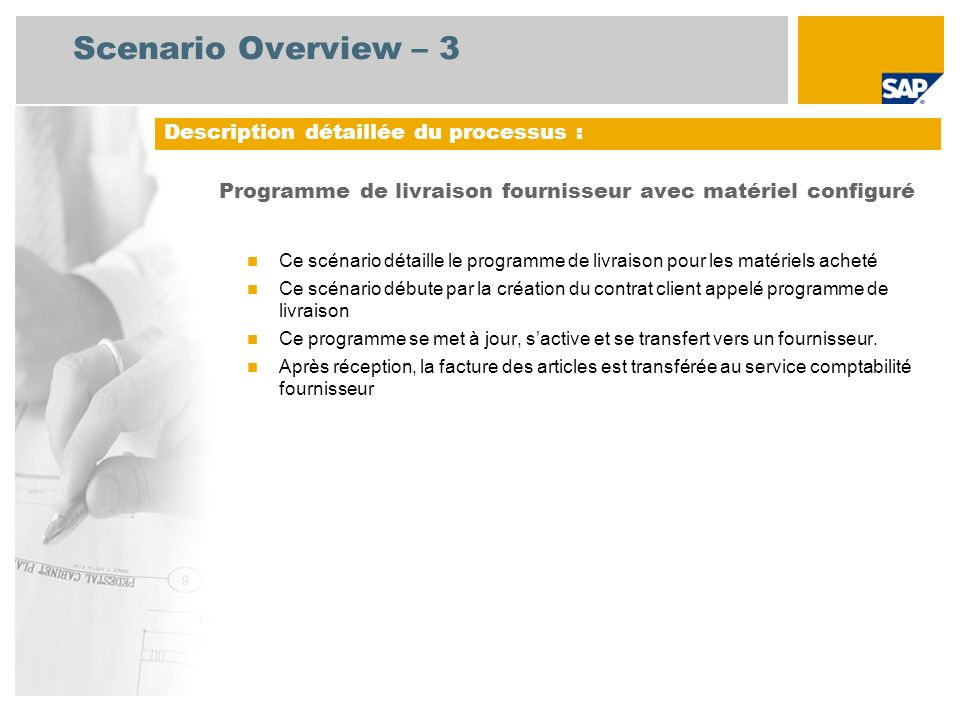 Scenario Overview – 3 Description détaillée du processus :