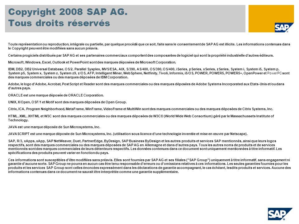 Copyright 2008 SAP AG. Tous droits réservés