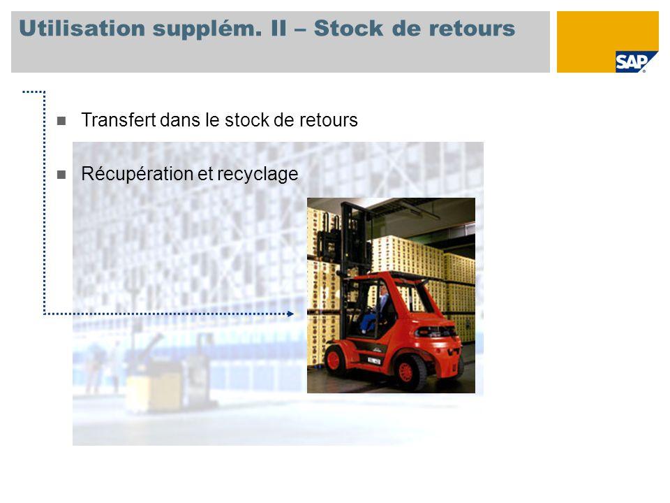 Utilisation supplém. II – Stock de retours