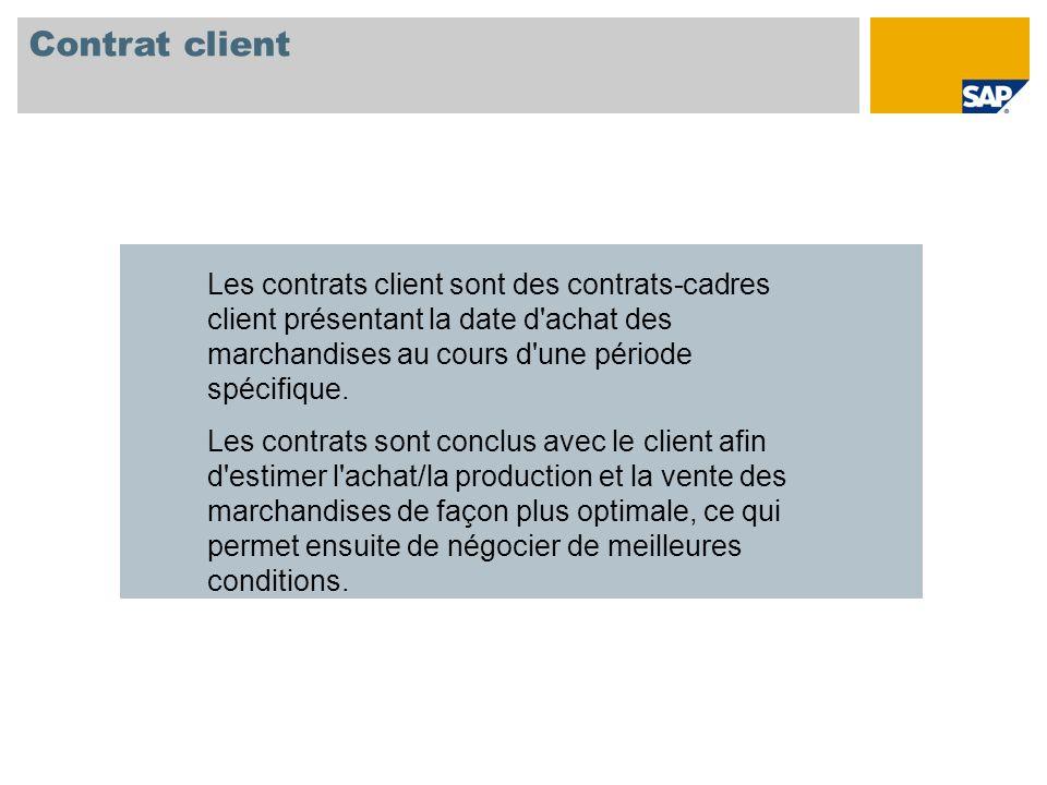 Contrat client Les contrats client sont des contrats-cadres client présentant la date d achat des marchandises au cours d une période spécifique.