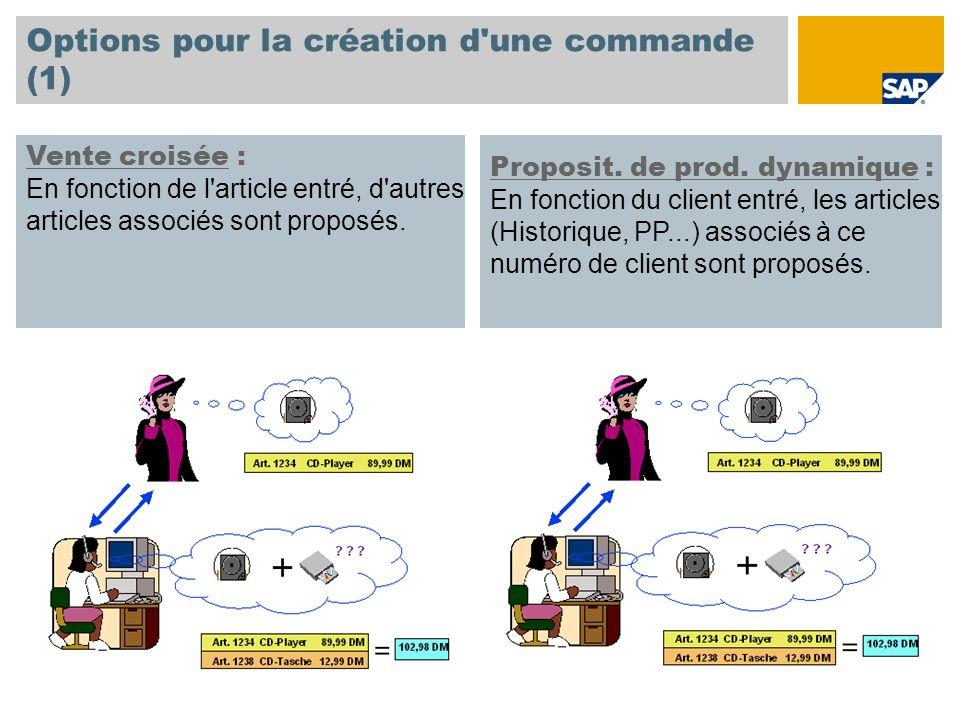 Options pour la création d une commande (1)