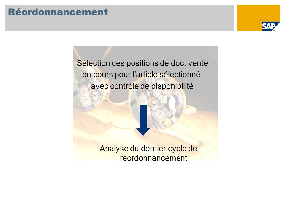 Réordonnancement Sélection des positions de doc. vente