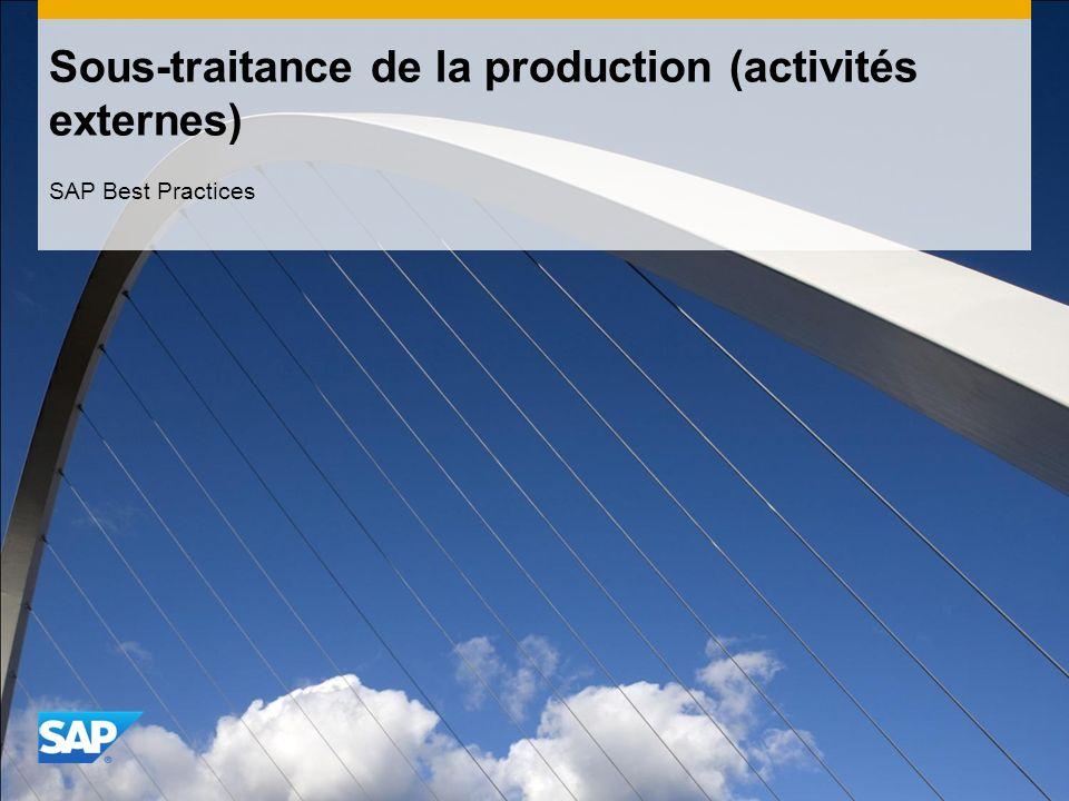 Sous-traitance de la production (activités externes)
