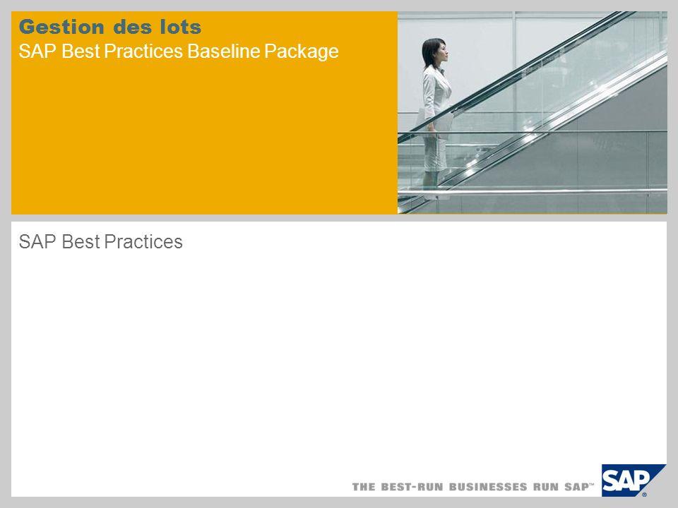 Gestion des lots SAP Best Practices Baseline Package